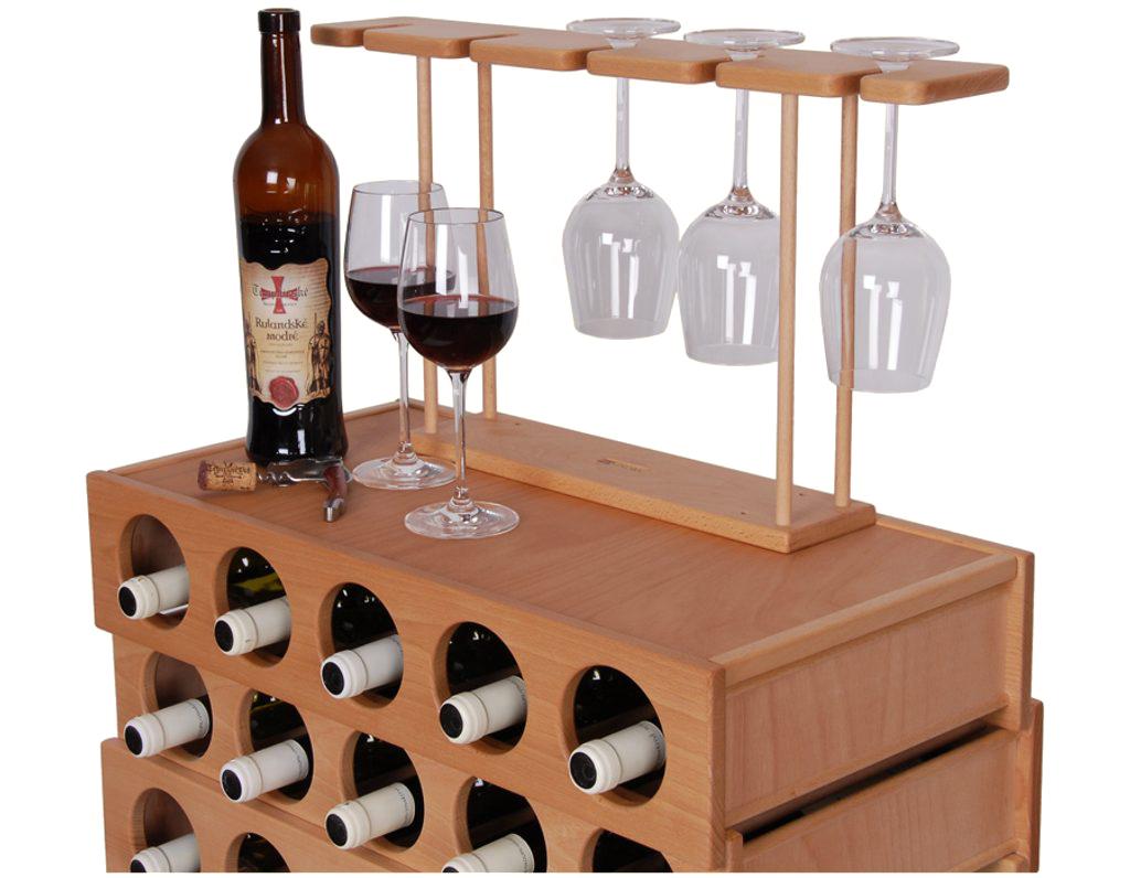Domácí vinotéka 653 - Dřevěná vinotéka na 30 lahví vína