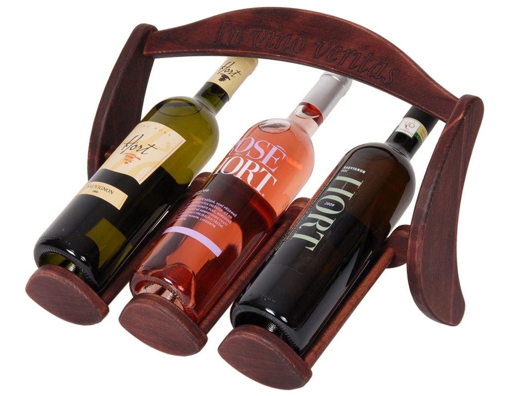 Stojan na víno 621 - Dřevěný stojan na 3 lahve vína