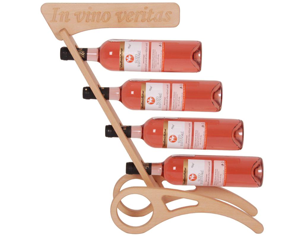 Stojan na víno 629 - Dřevěný stojan na 4 lahve vína