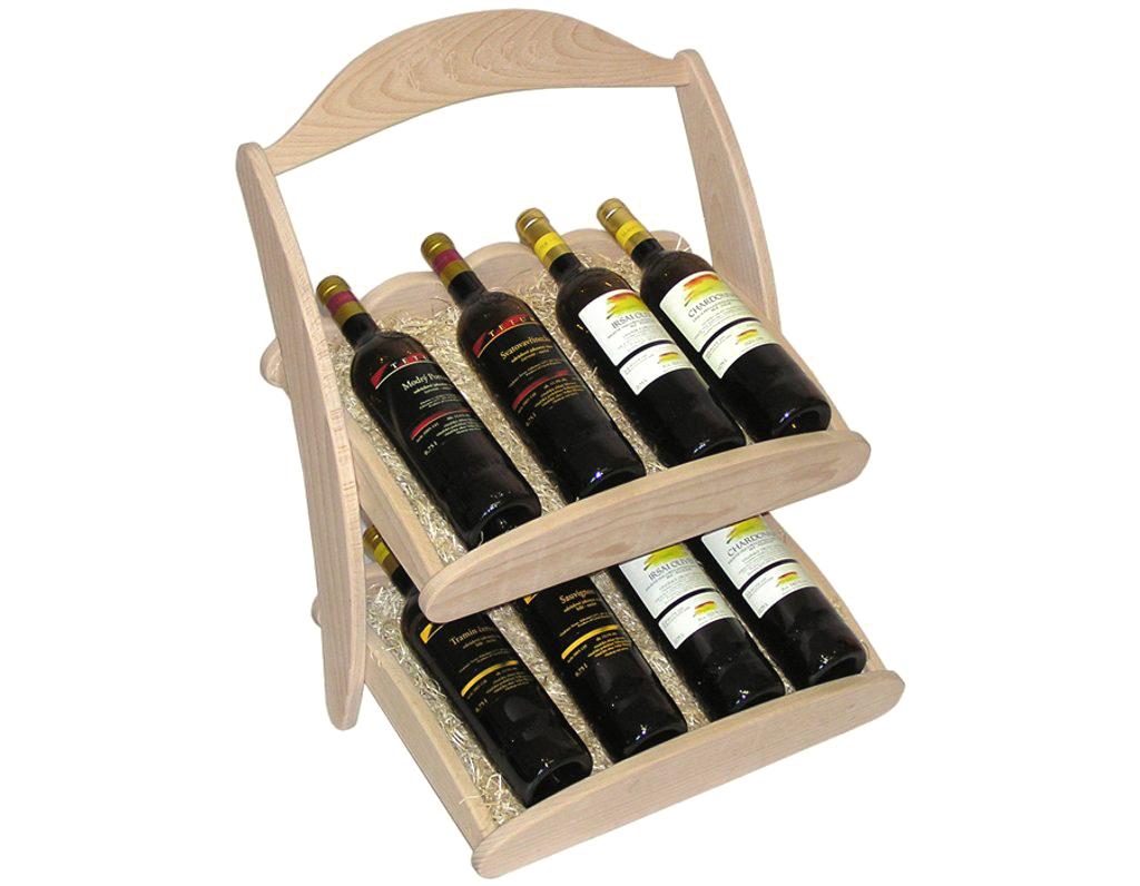 Stojan na víno 601 - Dřevěný stojan na 8 lahví vína