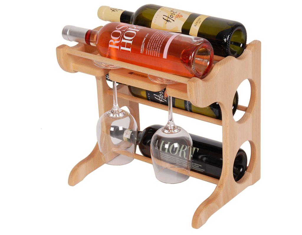 Domácí vinotéka 658 - Malá vinotéka na 4 lahve a 2 skleničky