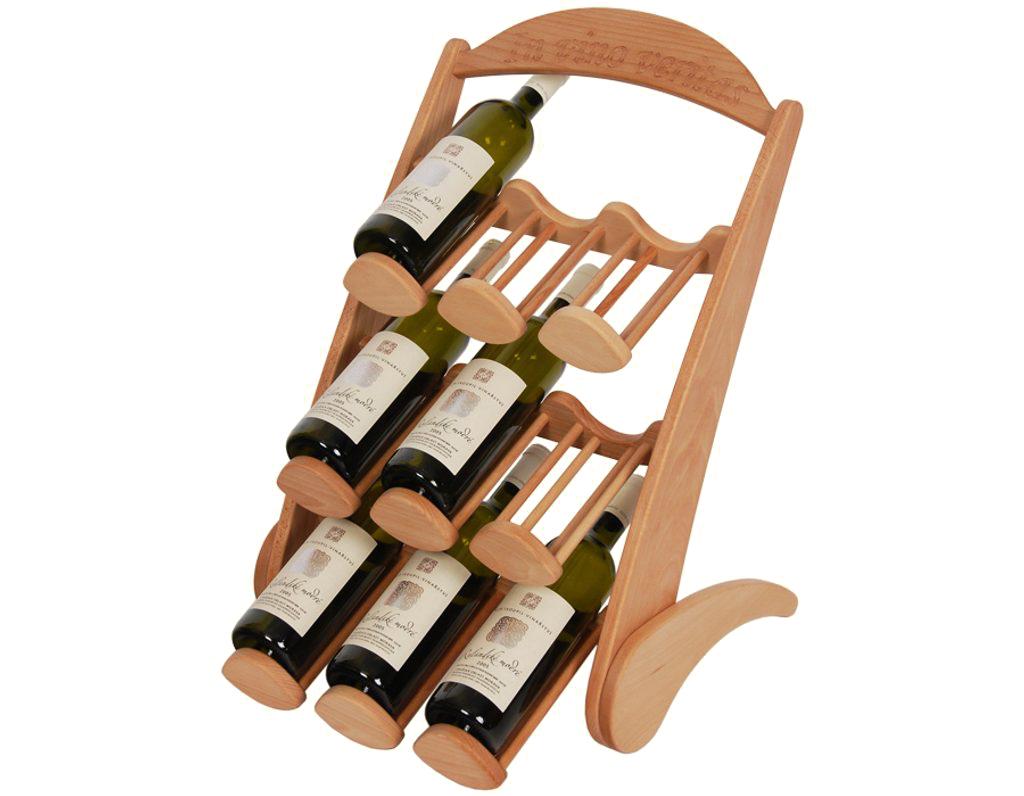 Stojan na víno 608 - Dřevěný stojan na 9 lahví vína