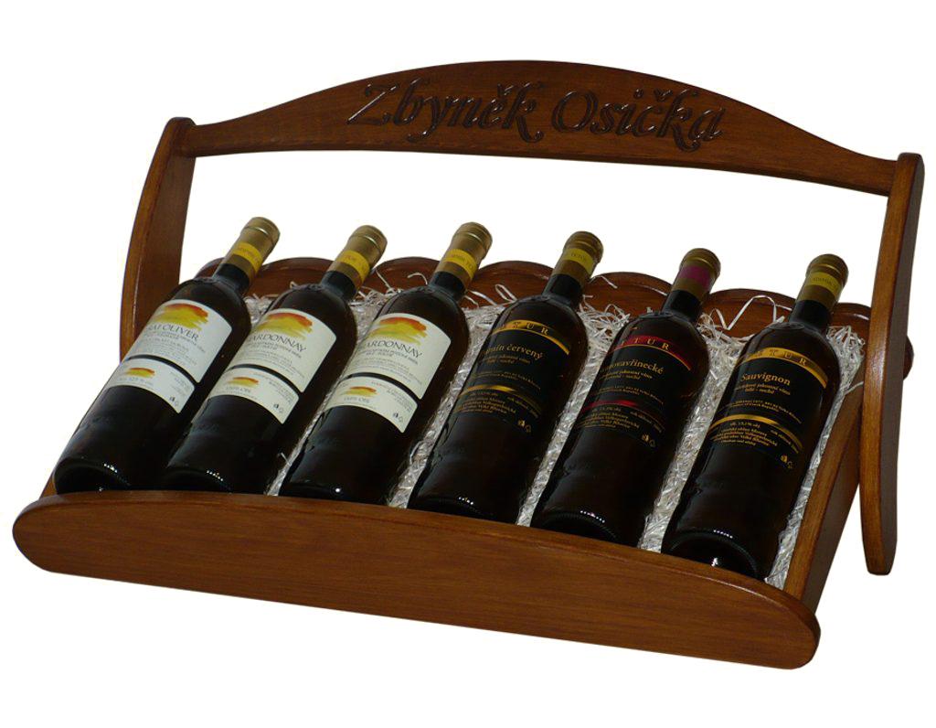 Stojan na víno 609 - Dřevěný stojan na 6 lahví vína