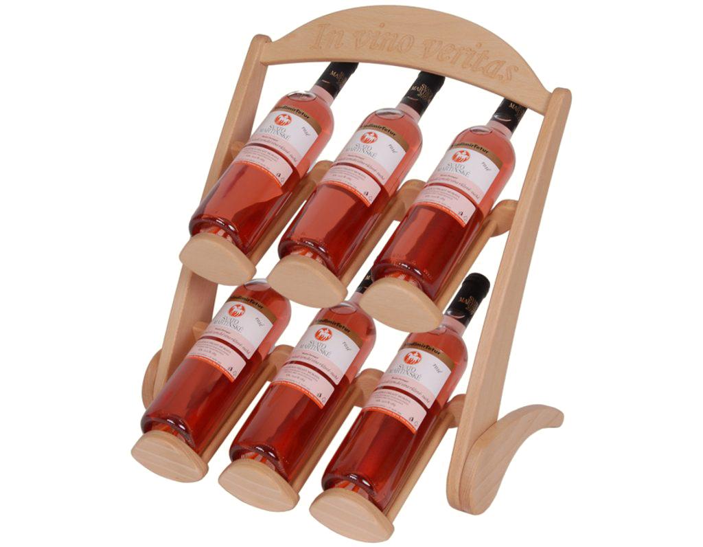 Stojan na víno 618 - Dřevěný stojan na 6 lahví vína