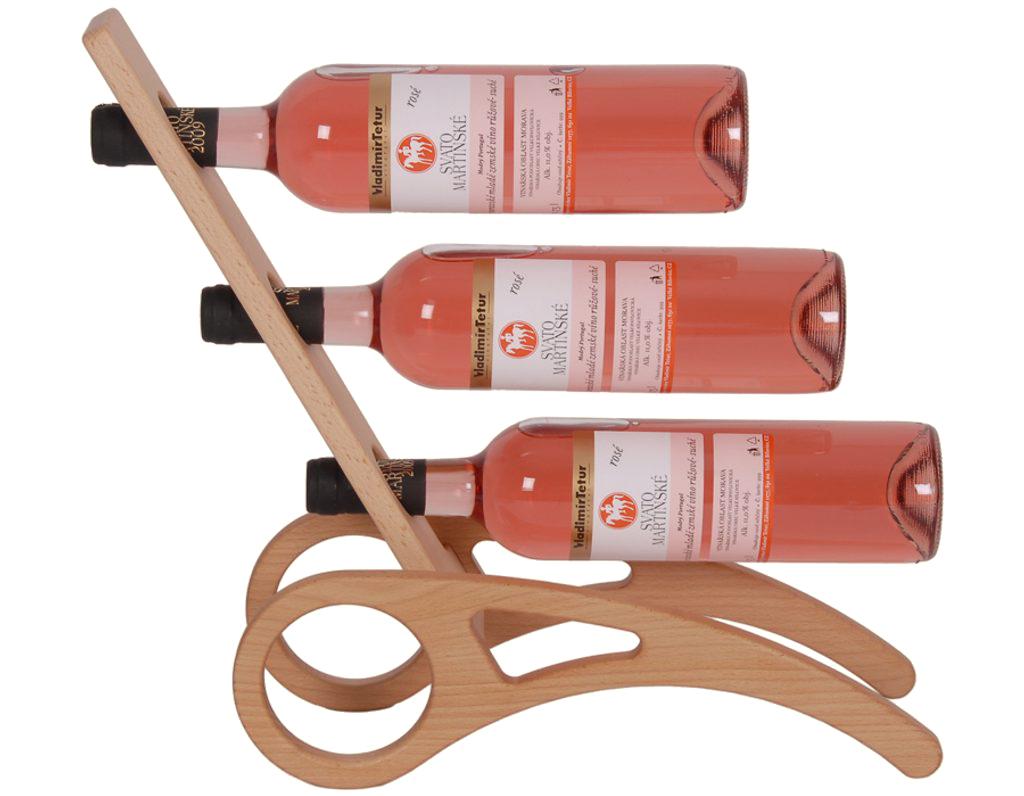 Stojan na víno 626 - Dřevěný stojan na 3 lahve vína