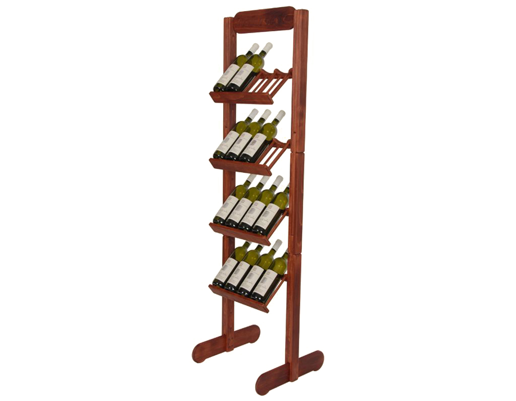 Stojan na víno 636 - Dřevěný stojan na 16 lahví vína