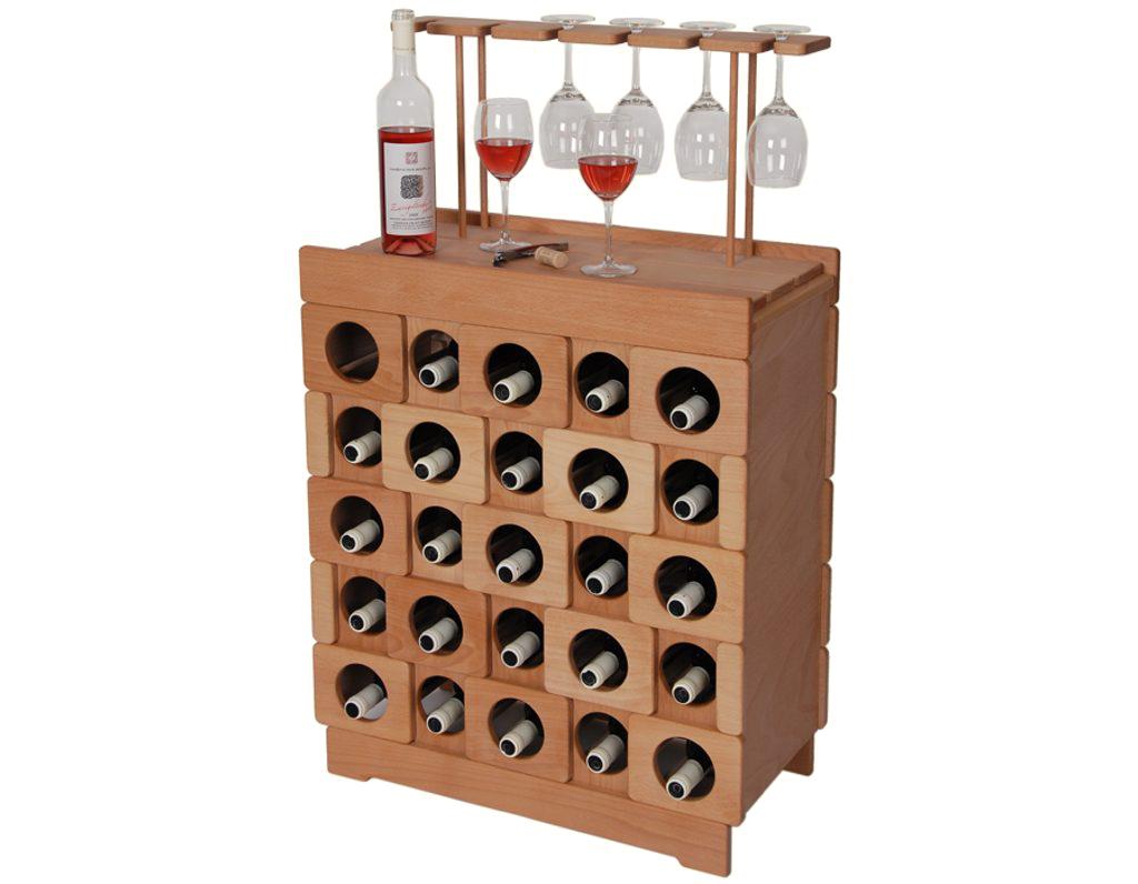 Domácí vinotéka 638 - Dřevěná vinotéka na 25 lahví vína