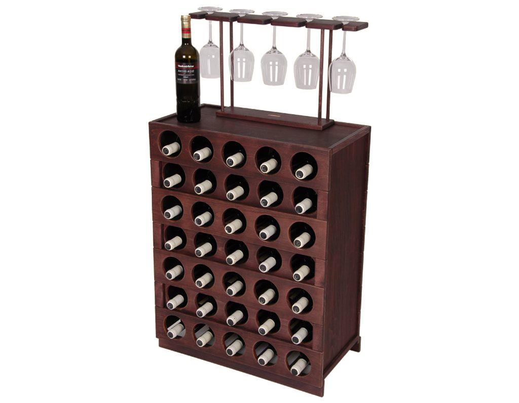 Domácí vinotéka 641 - Dřevěná vinotéka na 35 lahví vína