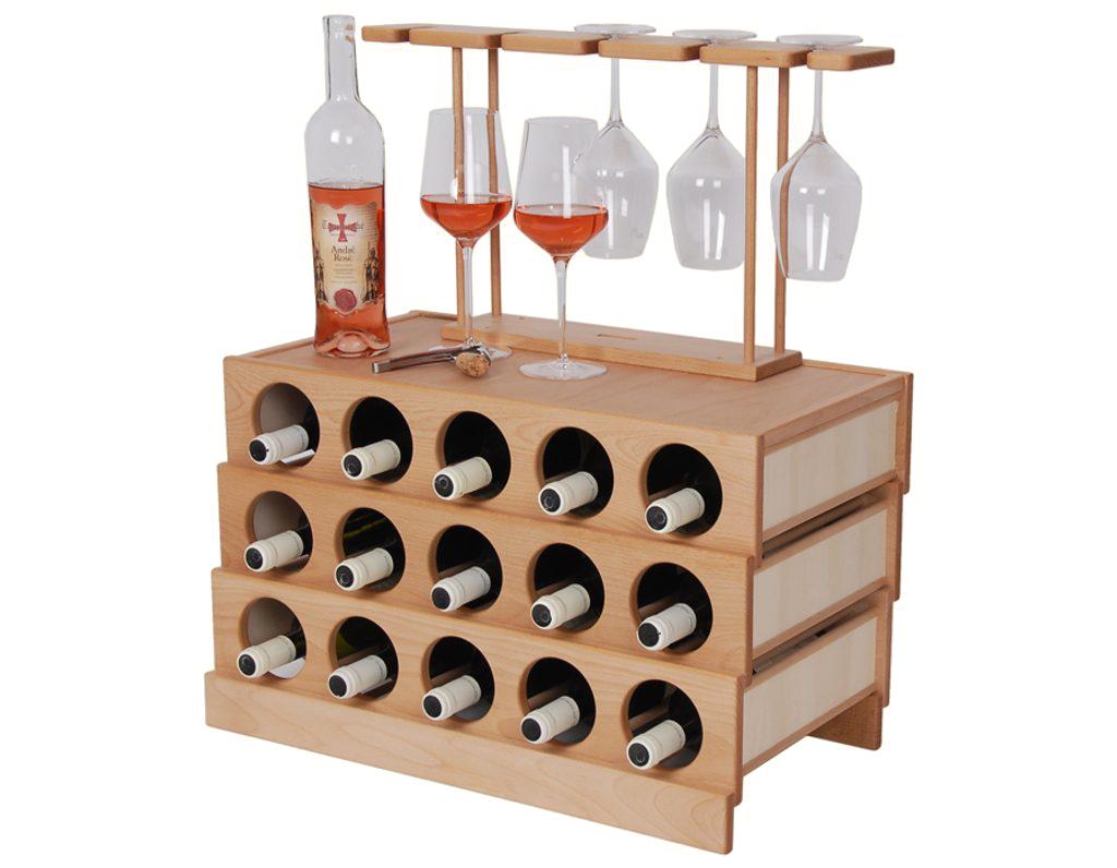 Domácí vinotéka 643 - Dřevěná vinotéka na 15 lahví vína