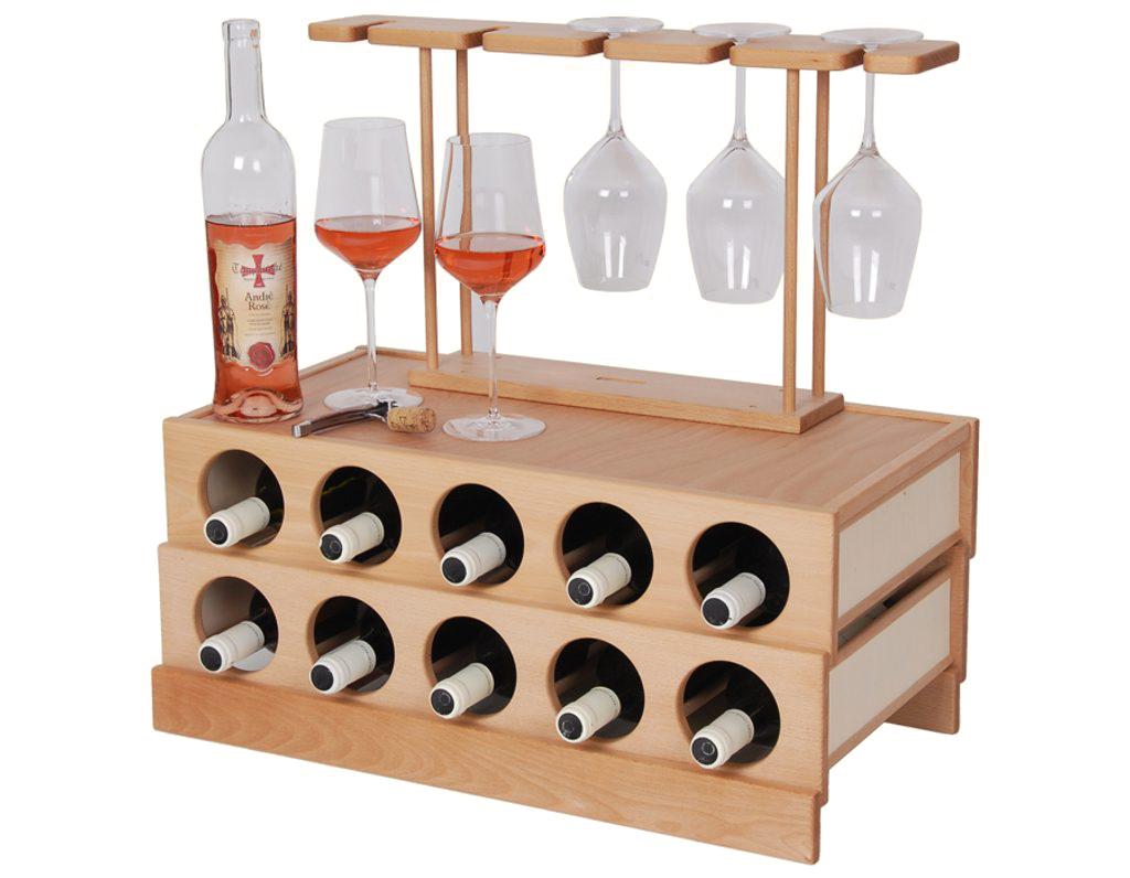 Domácí vinotéka 644 - Dřevěná vinotéka na 10 lahví vína
