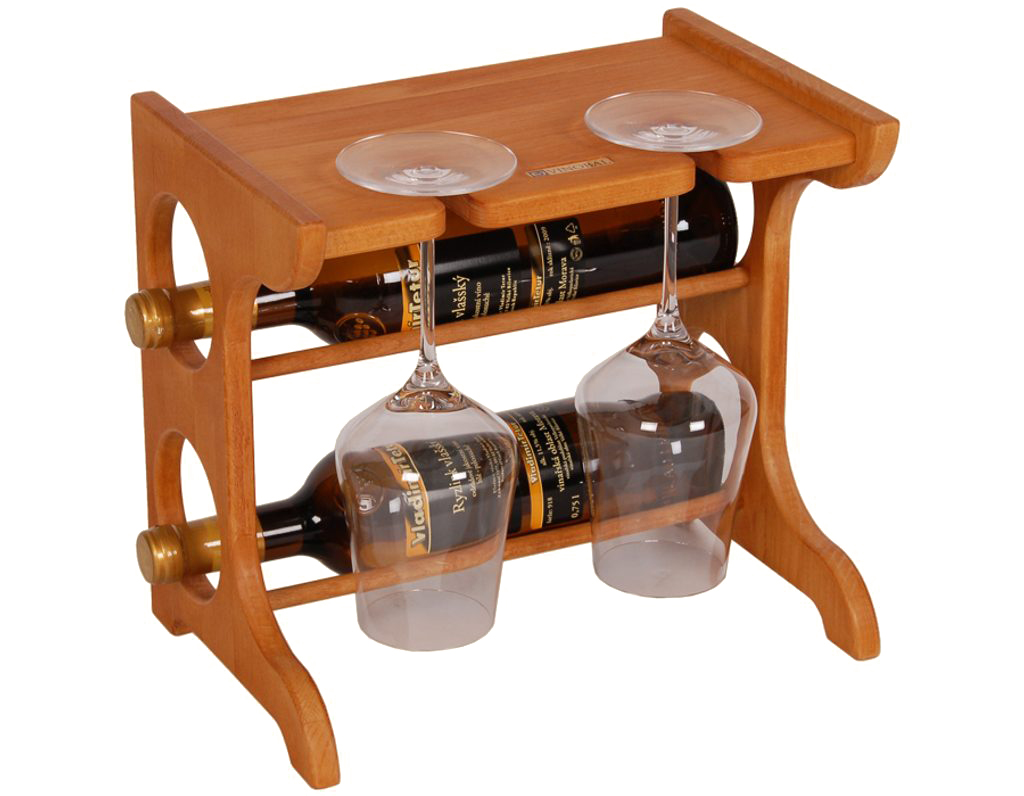 Domácí vinotéka 646 - Malá vinotéka na 2 lahve a 2 skleničky