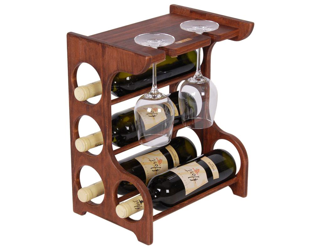 Domácí vinotéka 647 - Malá vinotéka na 4 lahve a 2 skleničky